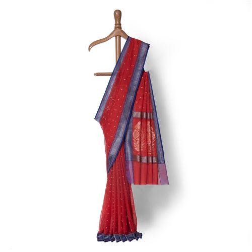 Tara Sorkh Real Zari Banarasi Handwoven Muslin Saree