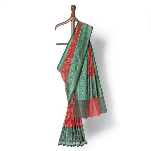 Sorkh Real Zari Banarasi Handwoven Muslin Saree