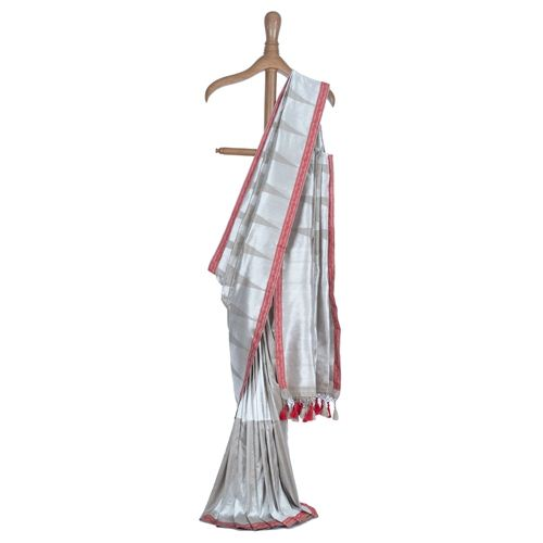 Temple Weave Red Resham Bdr Silk Saree