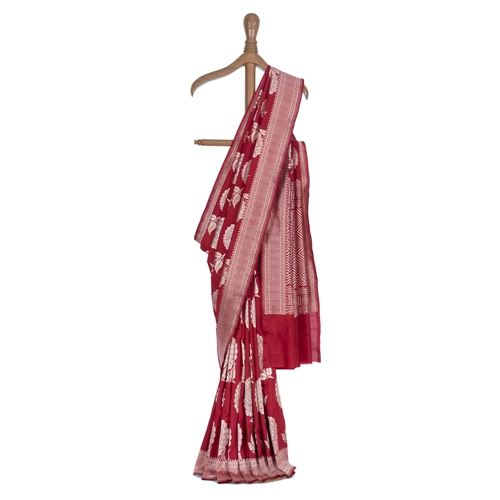 Gulaab Buta Red Silk Saree