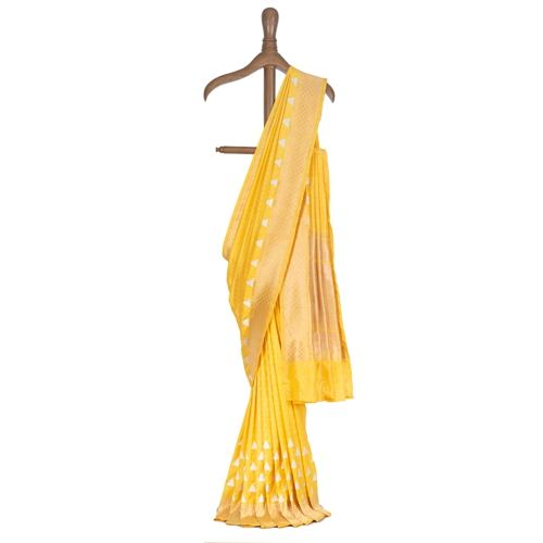 Pyramid Yellow Silk Saree