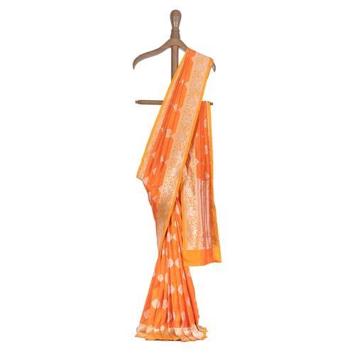 Paan Buta Orange Silk Saree