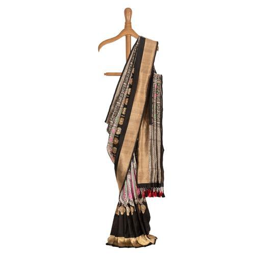 Chana Patti Mehraab Black Silk Saree