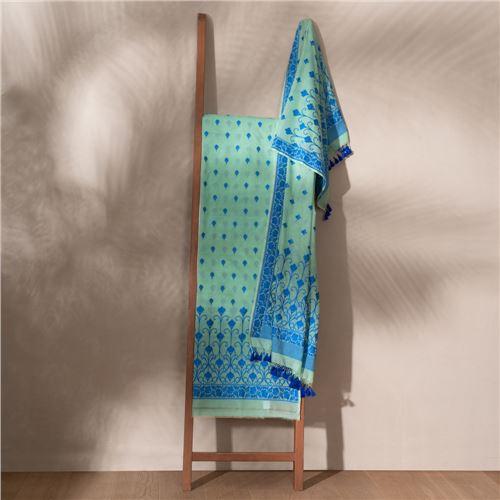 Lubna Waterfall Blue Banarasi Handwoven Cotton Suit Set
