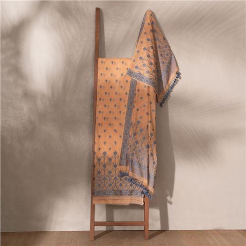 Lubna Mocha Mousse Banarasi Handwoven Cotton Suit Set