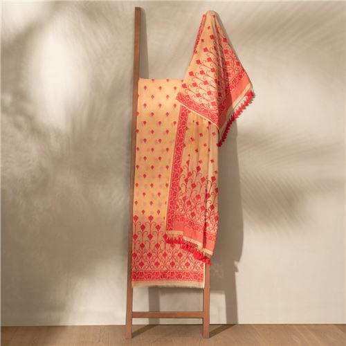 Lubna Maple Red Banarasi Handwoven Cotton Suit Set