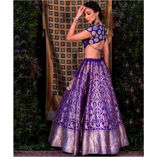 Miya Mithu Banarasi Handwoven Lehenga Purple