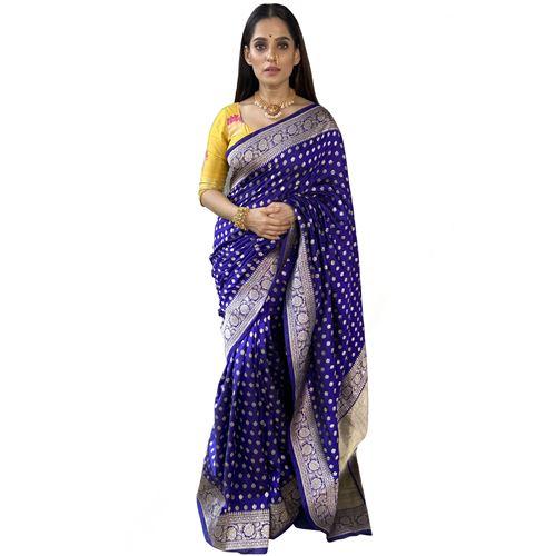 Chunri Zari Buti Ink Blue Silk Saree