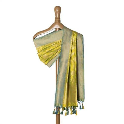 Phool Zari Jaal Lime Green Silk Dupatta