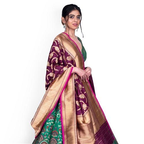 Feriziya Aubergine Banarasi Handwoven Silk Dupatta